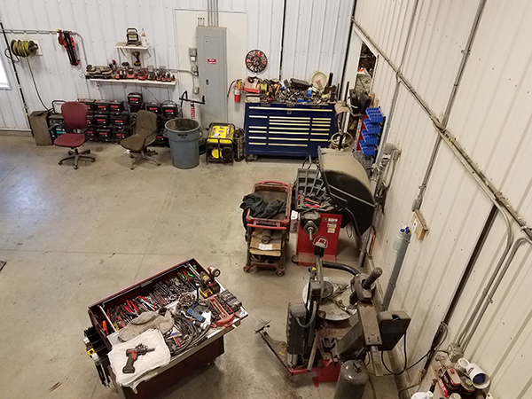 an elevated bird's eye view of all the tools in the shop at Wolf's Auto and Truck Repair